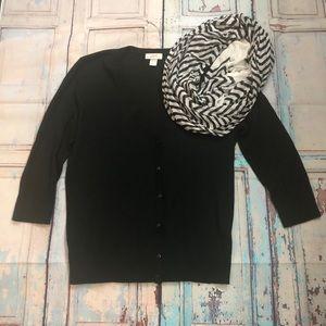 Loft Black button cardigan size L